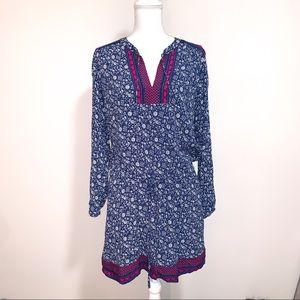 GAP Floral Combo V-neck Midi Dress Size L